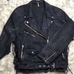 Free People Oversized Black Denim Moto Jacket